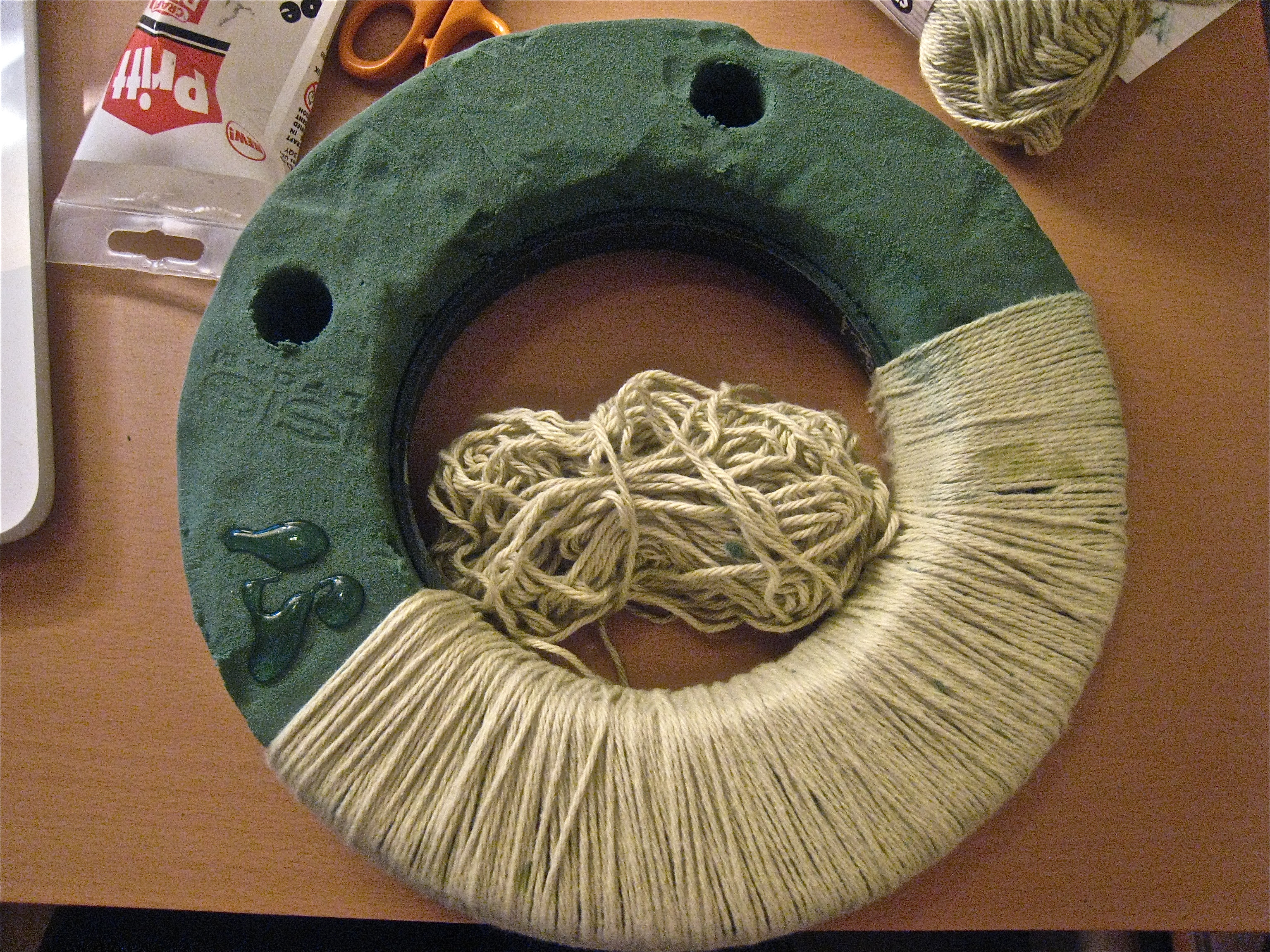 of the yarn-wrapped advent wreath | part of the main